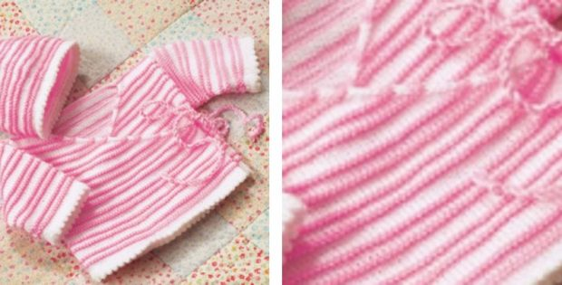 Candy Stripe Knitted Baby Wrap Jacket And Hat Free Knitting Pattern