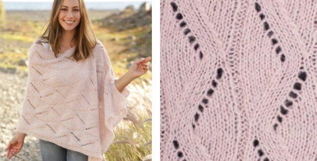 Alpaca Knitted Lace Poncho Free Knitting Pattern