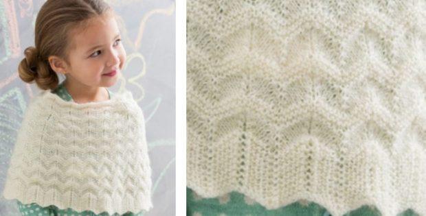 Stylish Girls Knitted Poncho Free Knitting Pattern