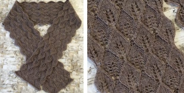 Mohawk Wool Leaf Knitted Lace Scarf Free Knitting Pattern