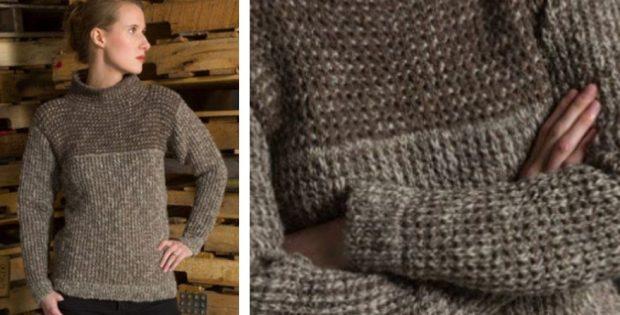 Waffle Stitch Knitted Pullover Free Knitting Pattern