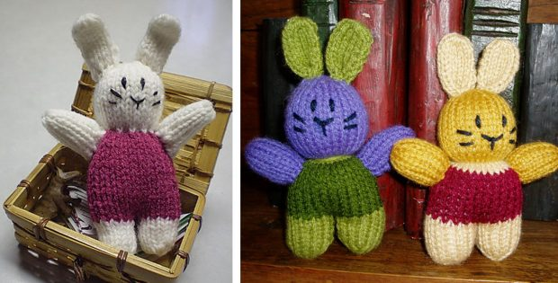 Irresistibly Cute Knitted Pocket Bunny Free Knitting Pattern