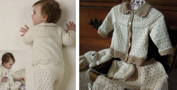 alpaca knitted baby lace set | The Knitting Space