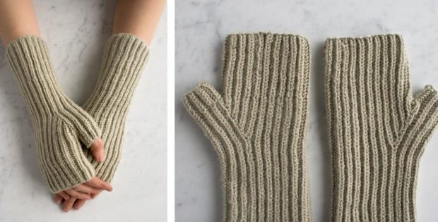 Fishermans Rib Knitted Hand Warmers Free Knitting Pattern