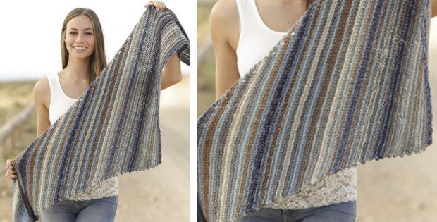 Lynette Striped Knitted Shawl Free Knitting Pattern