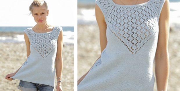 Crashing Waves Knitted Lace Summer Top Free Knitting Pattern