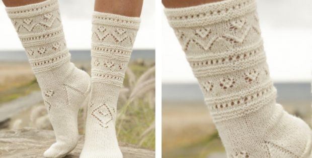 Bright Side Knitted Lace Socks Free Knitting Pattern