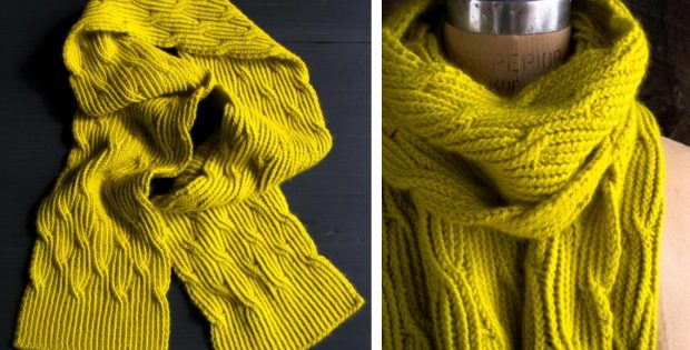 Reversible Knitted Rivulet Scarf Free Knitting Pattern