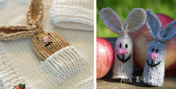 Fun Knitted Hare Finger Puppets Free Knitting Pattern