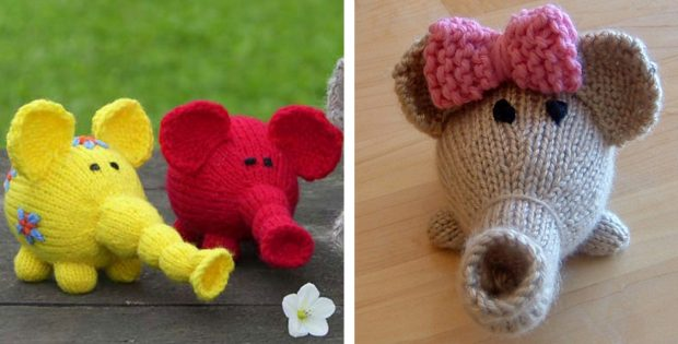 Adorable Knitted Flower Power Elephant FREE Knitting Pattern