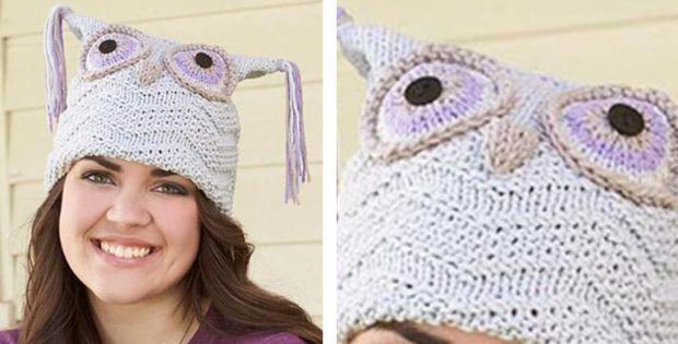 Adorable Knitted Purple Owl Hat [FREE Knitting Pattern] Unique Free Owl Hat Knitting Pattern