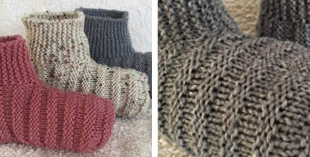 Simple Knitted Ribbed Bootie [FREE Knitting Pattern]
