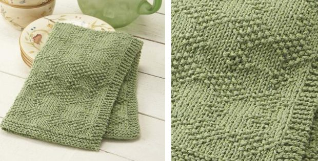 Simple Knitted Diamond Dish Towel Free Knitting Pattern