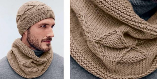 Stylish Knitted Mens Hat And Cowl Free Knitting Pattern