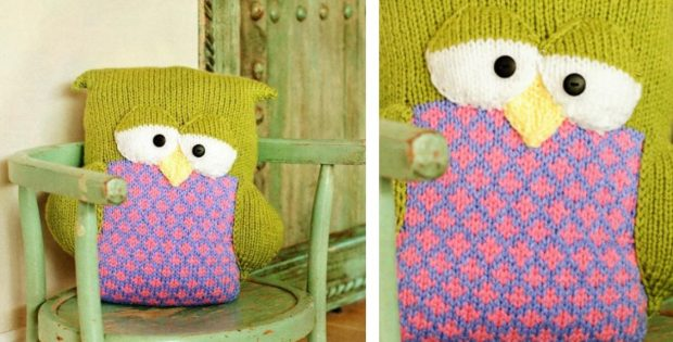 Fun Knitted Sleepy Owl Pillow Free Knitting Pattern