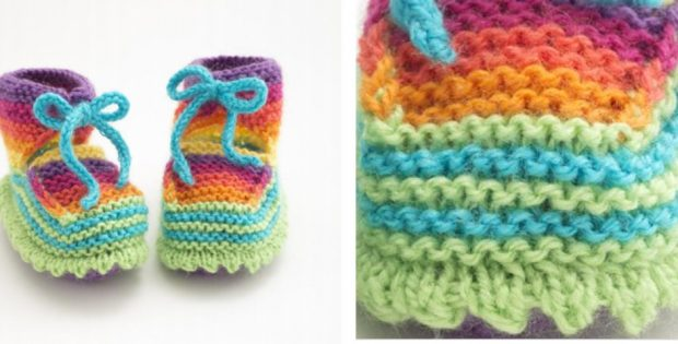 Cute Knitted Rainbow Booties Free Knitting Pattern