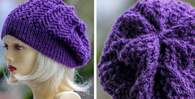 Arrowhead Knitted Slouchy Beanie Free Knitting Pattern