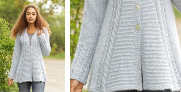 Bridget Knitted Jacket With Textured Pattern [FREE Knitting Pattern]