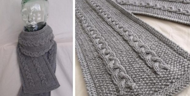 Lovely Cable Knitted Scarf | The Knitting Space