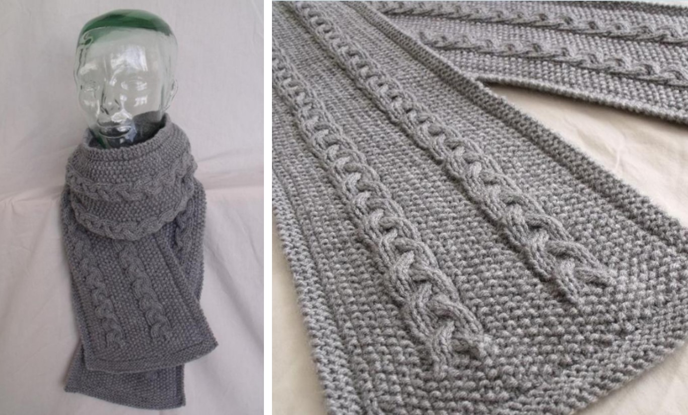 Lovely Cable Knitted Scarf Free Knitting Pattern