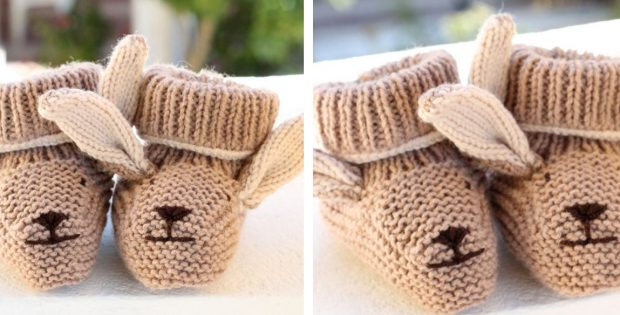 Adorable knitted bunny baby booties free knitting pattern dt1010fo