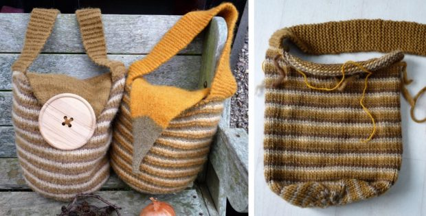 Stripes Knitted Slouch Bag | The Knitting Space