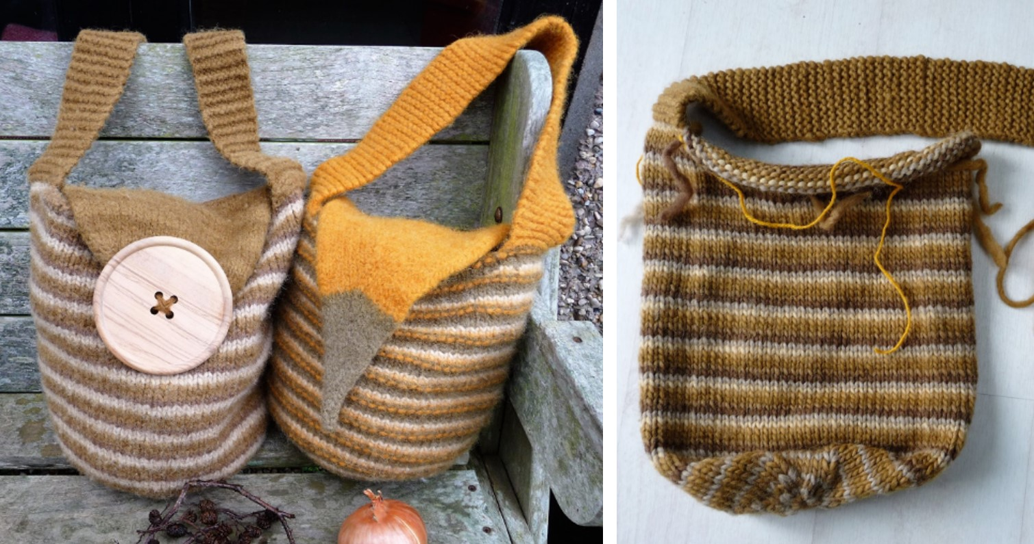 Stripes Knitted Slouch Bag [FREE Knitting Pattern]