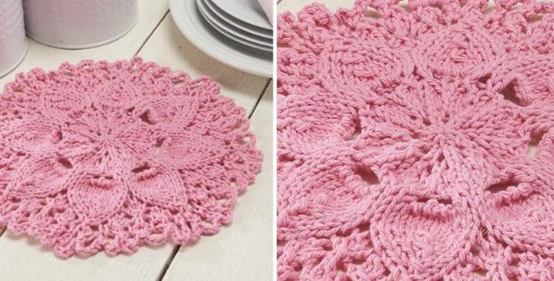 Zinnia Knitted Floral Dishcloth [FREE Knitting Pattern]