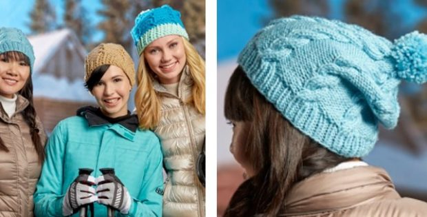 Knitted Cabled Pompom Hat | The Knitting Space |