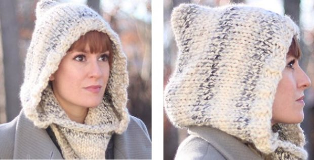 Winter Wine Knitted Hooded Cowl [FREE Knitting Pattern] Amazing Hooded Cowl Pattern