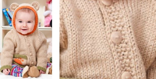 c12bc2cd9c81 Cute Baby Bear Knitted Hoodie  FREE Knitting Pattern