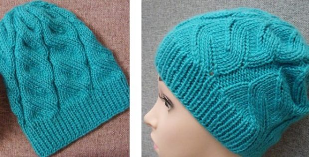 Stylish Azure Knitted Cable Hat Free Knitting Pattern