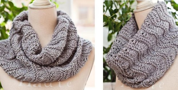 Rippled Ridges Knitted Cowl Free Knitting Pattern