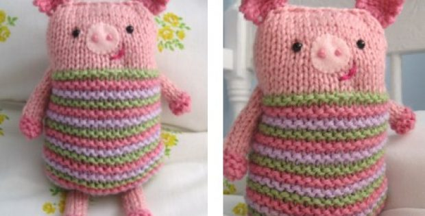 Super Cute Knook Knitted Piggy Free Knitting Pattern