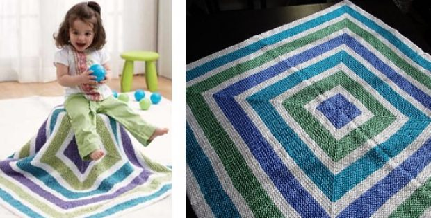 Tri Color Squares Knitted Baby Blanket Free Knitting Pattern