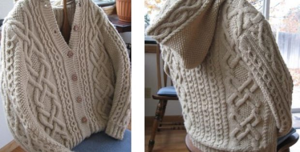 Whitney Double-X Knitted Hooded Cardigan [FREE Knitting Pattern]
