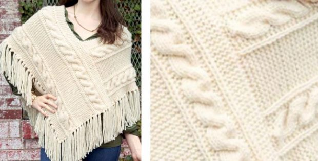 Stylish Knitted Cabled Poncho Free Knitting Pattern