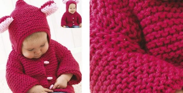 1ba126ad2 Adorable Knitted Baby Jacket With Hood  FREE Knitting Pattern