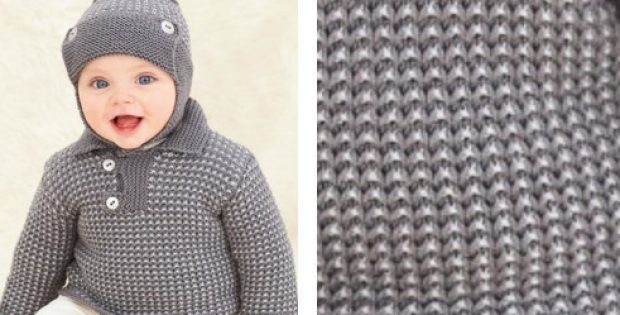 80913778c0a7 Stylish Knitted Baby Sweater And Helmet  FREE Knitting Pattern