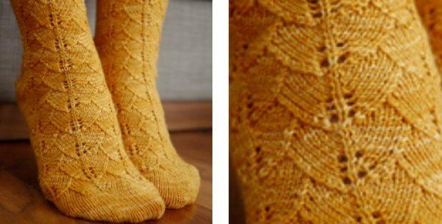 Toe Up Knitted Ginkgo Lace Socks Free Knitting Pattern