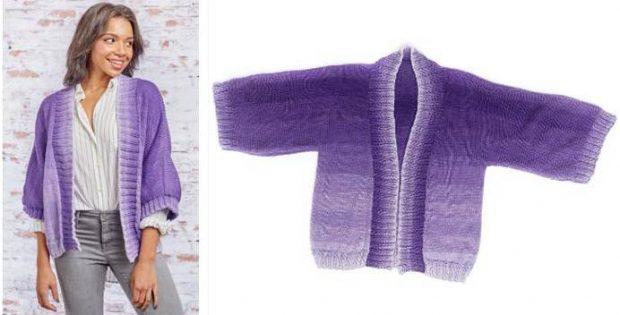 Kimono Style Knitted Jacket [FREE Knitting Pattern]