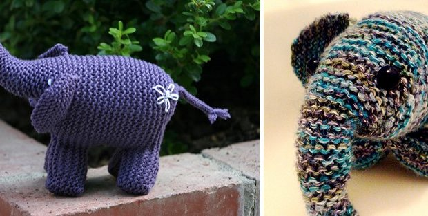 knitted garter stitch elephant | the knitting space