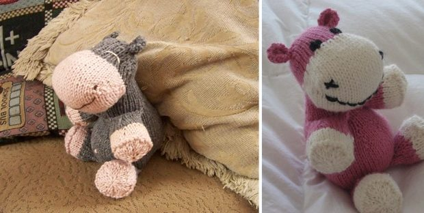 Knitted Sock Hippo Soft Toy Free Knitting Pattern