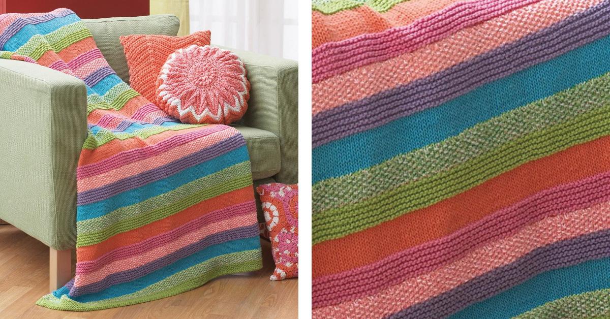 Sugar N Cream Striped Knitted Blanket Free Knitting Pattern