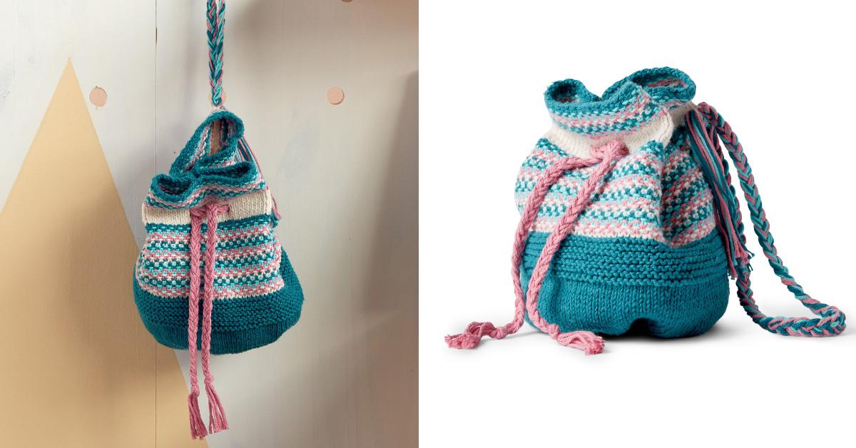 Lovely Knitted Bucket Bag Free Knitting Pattern