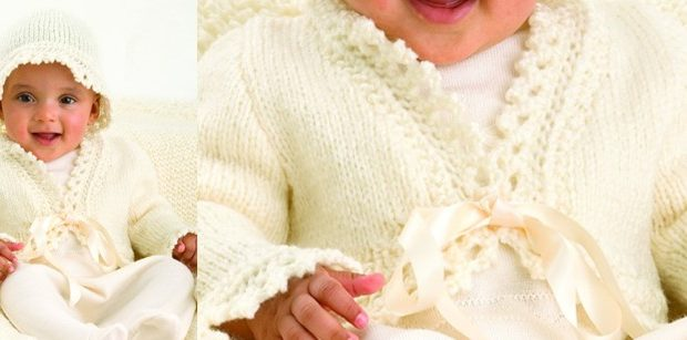 Lace Trim Knitted Baby Jacket And Hat Free Knitting Pattern