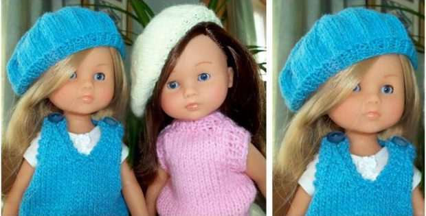 Les Cheries Doll Knitted Beret Free Knitting Pattern