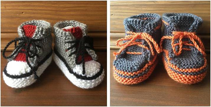 Little Converse Knitted Booties Free Knitting Pattern
