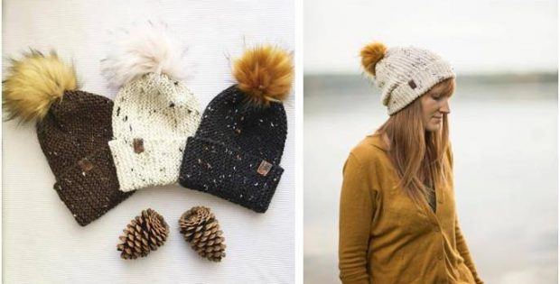 Loghan Knitted Pompom Hat [FREE Knitting Pattern]