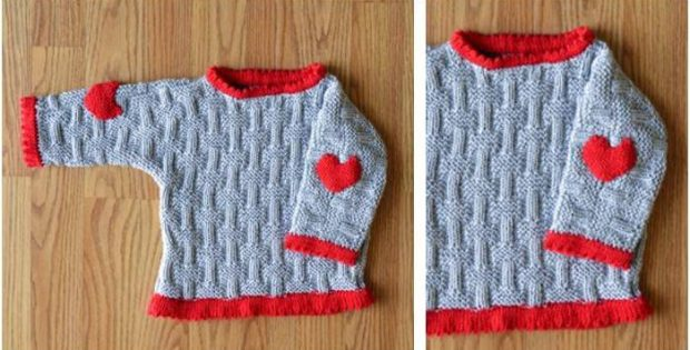 Love Patches Knitted Baby Sweater Free Knitting Pattern